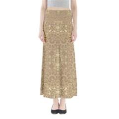 Ornate Golden Baroque Design Full Length Maxi Skirt by dflcprints