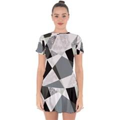 Monogram Marble Mosaic Drop Hem Mini Chiffon Dress by allgirls