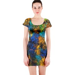 Squiggly Abstract C Short Sleeve Bodycon Dress by MoreColorsinLife