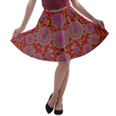 Hearts Can Also Be Flowers Such As Bleeding Hearts Pop Art A Line Skater Skirt by pepitasart