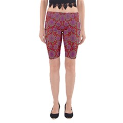 Hearts Can Also Be Flowers Such As Bleeding Hearts Pop Art Yoga Cropped Leggings by pepitasart