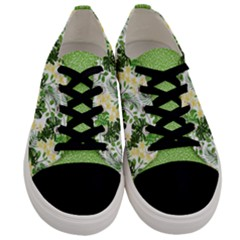Chartreuse Botanical Flowers Women s Low Top Canvas Sneakers by PattyVilleDesigns
