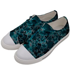 Unique Marbled Teal Men s Low Top Canvas Sneakers by MoreColorsinLife