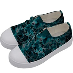 Unique Marbled Teal Kids  Low Top Canvas Sneakers by MoreColorsinLife