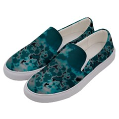 Unique Marbled Teal Men s Canvas Slip Ons by MoreColorsinLife