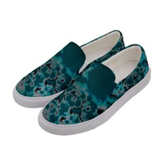 Unique Marbled Teal Women s Canvas Slip Ons by MoreColorsinLife