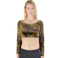 Wonderful Marbled Structure B Long Sleeve Crop Top