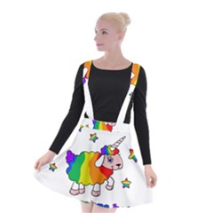 Unicorn Sheep Suspender Skater Skirt by Valentinaart