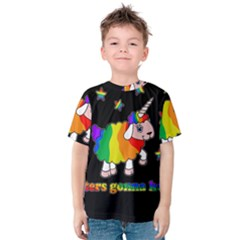 Unicorn Sheep Kids  Cotton Tee by Valentinaart