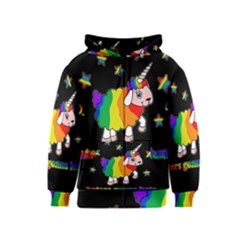 Unicorn Sheep Kids  Zipper Hoodie by Valentinaart