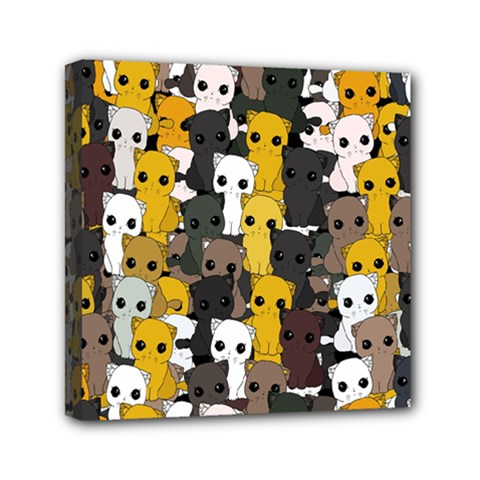 Cute Cats Pattern Mini Canvas 6  X 6  by Valentinaart