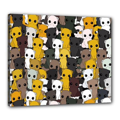 Cute Cats Pattern Canvas 24  X 20  by Valentinaart
