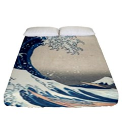 The Classic Japanese Great Wave Off Kanagawa By Hokusai Fitted Sheet (king Size) by PodArtist
