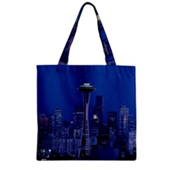 Space Needle Seattle Washington Zipper Grocery Tote Bag by Nexatart