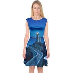 Plouzane France Lighthouse Landmark Capsleeve Midi Dress by Nexatart