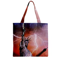 Statue Of Liberty New York Zipper Grocery Tote Bag by Nexatart
