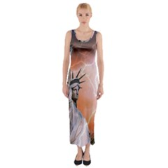 Statue Of Liberty New York Fitted Maxi Dress