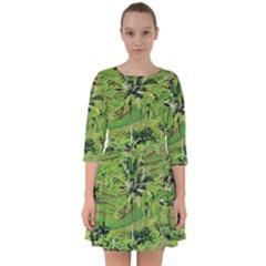 Greenery Paddy Fields Rice Crops Smock Dress