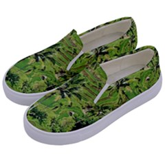 Greenery Paddy Fields Rice Crops Kids  Canvas Slip Ons by Nexatart
