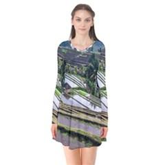 Rice Terrace Rice Fields Flare Dress by Nexatart