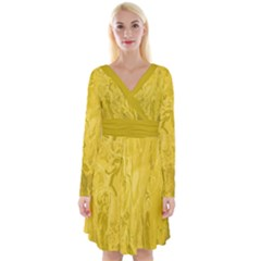 Long Sleeve Front Wrap Dress In Lemon Curry