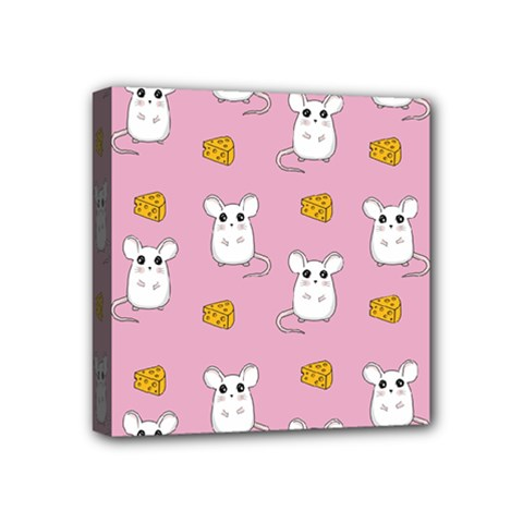 Cute Mouse Pattern Mini Canvas 4  X 4  by Valentinaart