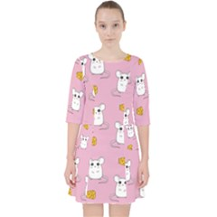 Cute Mouse Pattern Pocket Dress