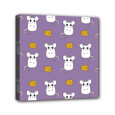 Cute Mouse Pattern Mini Canvas 6  X 6  by Valentinaart