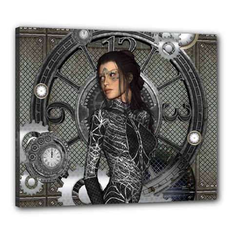 Steampunk, Steampunk Lady, Clocks And Gears In Silver Canvas 24  X 20  by FantasyWorld7