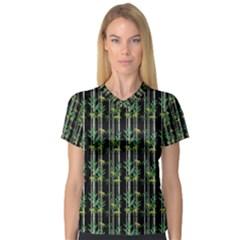 Bamboo Pattern V Neck Sport Mesh Tee by ValentinaDesign
