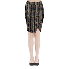 Bamboo Pattern Midi Wrap Pencil Skirt by ValentinaDesign