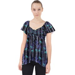 Bamboo Pattern Lace Front Dolly Top