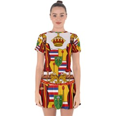 Kingdom Of Hawaii Coat Of Arms, 1795 1850 Drop Hem Mini Chiffon Dress by abbeyz71