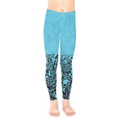 Modern Paperprint Turquoise Kids  Legging by MoreColorsinLife