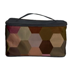 Brown Background Layout Polygon Cosmetic Storage Case by Nexatart