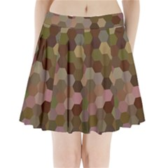 Brown Background Layout Polygon Pleated Mini Skirt by Nexatart