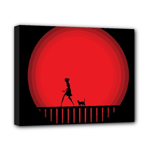Girl Cat Scary Red Animal Pet Canvas 10  X 8  by Nexatart