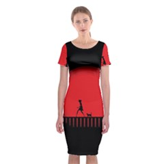 Girl Cat Scary Red Animal Pet Classic Short Sleeve Midi Dress by Nexatart