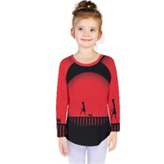 Girl Cat Scary Red Animal Pet Kids  Long Sleeve Tee by Nexatart