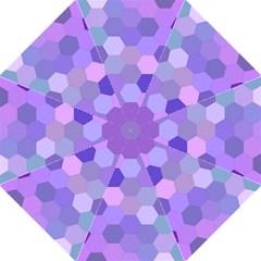 Purple Hexagon Background Cell Hook Handle Umbrellas (large) by Nexatart