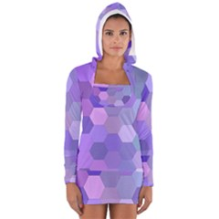 Purple Hexagon Background Cell Long Sleeve Hooded T Shirt by Nexatart
