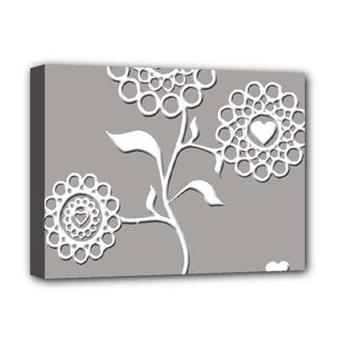 Flower Heart Plant Symbol Love Deluxe Canvas 16  X 12   by Nexatart