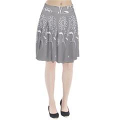 Flower Heart Plant Symbol Love Pleated Skirt by Nexatart