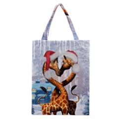 Christmas, Giraffe In Love With Christmas Hat Classic Tote Bag by FantasyWorld7