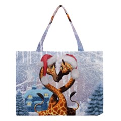 Christmas, Giraffe In Love With Christmas Hat Medium Tote Bag by FantasyWorld7