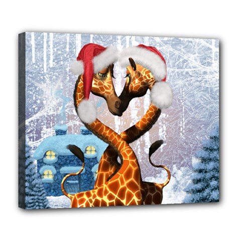 Christmas, Giraffe In Love With Christmas Hat Deluxe Canvas 24  X 20   by FantasyWorld7