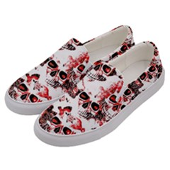 Cloudy Skulls White Red Men s Canvas Slip Ons by MoreColorsinLife
