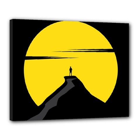 Man Mountain Moon Yellow Sky Canvas 20  X 16  by Nexatart