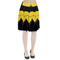 Man Mountain Moon Yellow Sky Pleated Skirt by Nexatart