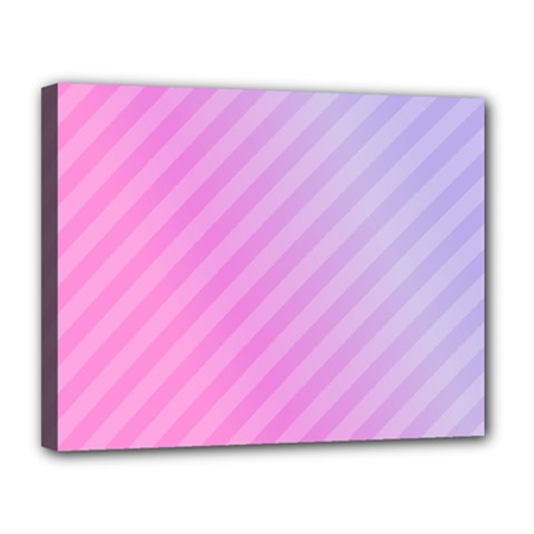 Diagonal Pink Stripe Gradient Canvas 14  X 11  by Nexatart